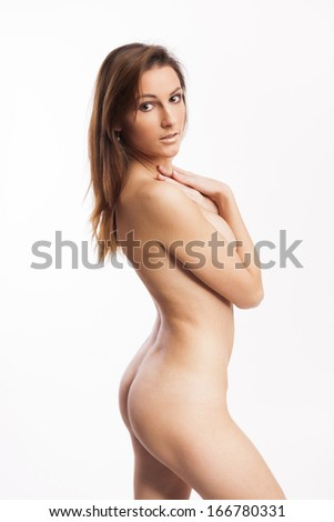 Beautiful Nude Woman With Perfect Body On White Isolated Background