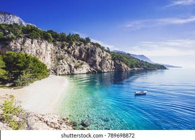Beautiful Nugal beach near Makarska town, Dalmatia, Croatia. Makarska riviera, famous landmark and travel touristic destination in Europe