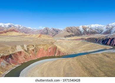 beautiful nujiang river landscape with tanggula mountains, datang township, biru county, naqu city, tibet, China