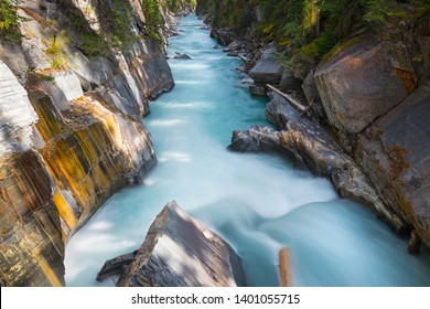 Beautiful Numa Falls and the Vermillion River Canyon in Kootenay National Park, British Columbia, Canada.