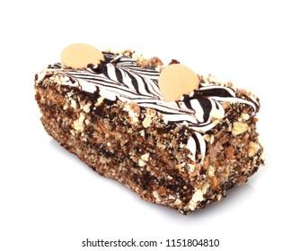 Beautiful nuts cake, isolated on white background.