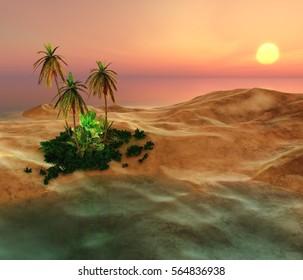 Beautiful oasis in the desert sand, 3d rendering