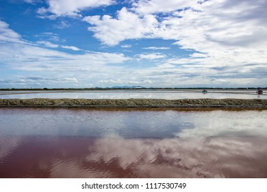 The beautiful ocean bay refection of blue sky with sun light and white clouds. Seascape, Natural background. Amazing view seascape in Western Thailand.