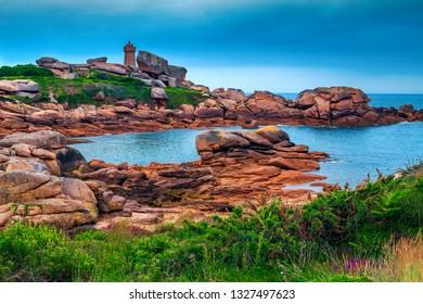 Beautiful ocean coastline with colorful granite rocks and fantastic beach, Perros-Guirec, Brittany region, France, Europe