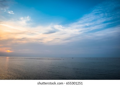 Beautiful ocean and sky background. Composition of nature.