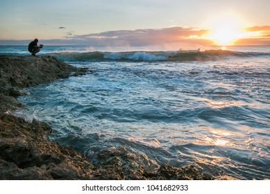 Beautiful ocean sunset on Oahu, Hawaii.