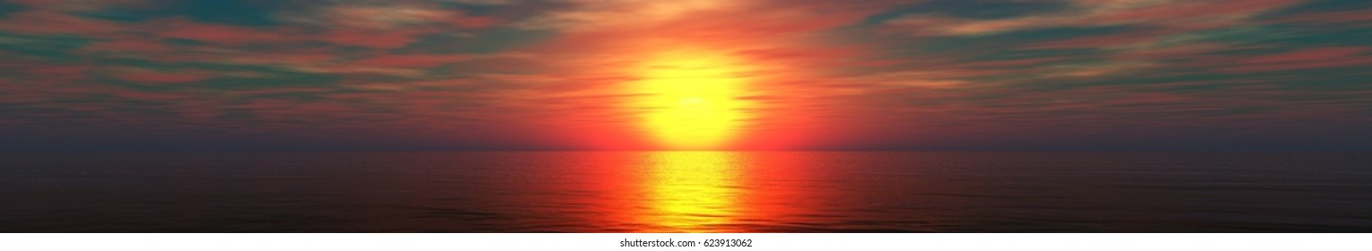 Beautiful ocean sunset, panorama of sea sunset, sun above water, 3d rendering