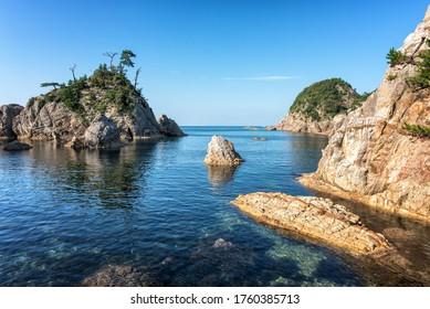 日本鳥取の浦留海岸の美しい海