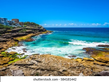 Beautiful Ocean View between Bondi to Coogee Beach Coastal Walk, Australia.