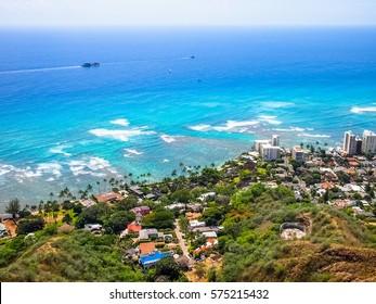 Beautiful Ocean View from Diamond Head Lookout in Hawaii.