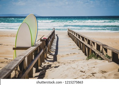 Beautiful ocean view with surf boards. Summer vocation.