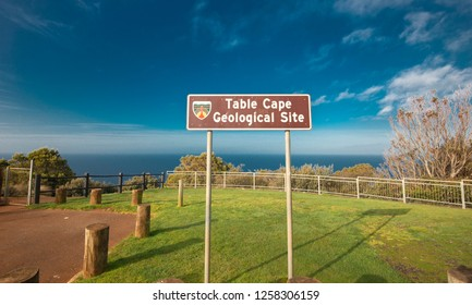 Beautiful ocean view from the Table Cape in Tasmania on a nice summers day.