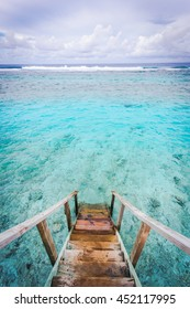 The beautiful ocean views form staircase Maldives water villa , View from runway the indian ocean bay, beach pier for jumping, fishing and snorkeling, Maldives islands