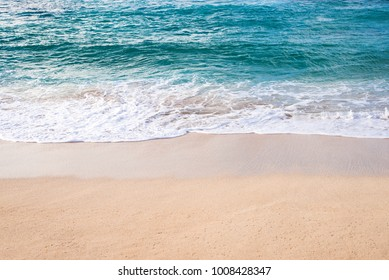beautiful ocean wave on sandy beach of Sunset Beach in Oahu, Hawaii, background