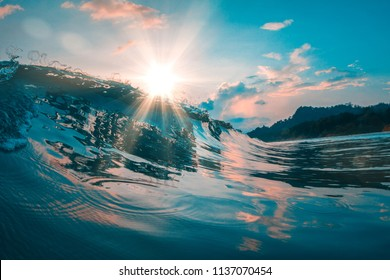 Beautiful ocean wave, reflected sea water surface, tropical background