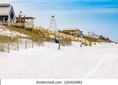 Beautiful oceanfront beach homes along the North Florida panhandle coast.