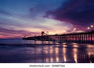beautiful Oceanside bridge at sunset