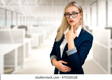 beautiful office blonde lady girl student business woman blue suit black glasses white interior
