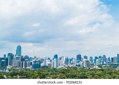 Beautiful office building tower and architecture in bangkok city skyline of Thailand