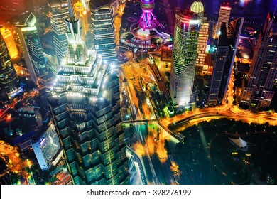 Beautiful and office skyscrapers,night view city building of Pudong, Shanghai, China.