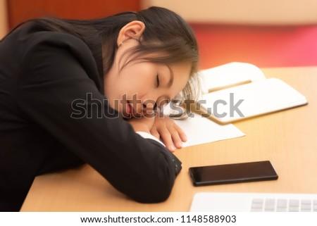 Beautiful Office Woman Sit Sleep Table Stock Photo Edit Now