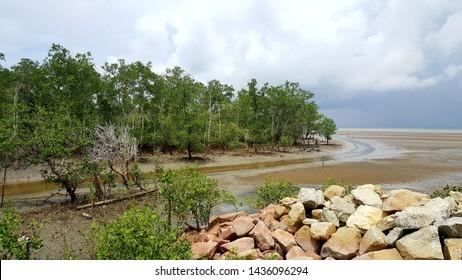 Beautiful offshore scenery at Morib, Banting, Malaysia
