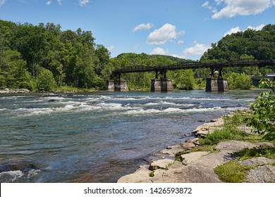 Beautiful Ohiopyle State Park located in Pennsylvania. Summer tourism and vacation destination.  View of the bridge used for many outdoor adventures.