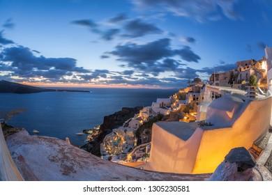 Beautiful Oia village at night on Santorini island in Greece