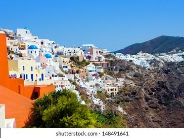 Beautiful Oia village in Santorini island. Greece