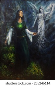 A beautiful oil painting of a mystical woman in historical dress having a visionary encounter with her guardian angel in a temple of nature
