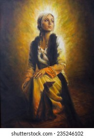 Beautiful oil painting of a young woman in historical dress on canvas, full of inner light and radiation