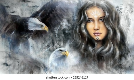 Beautiful oil painting of a young woman face with long dark hair and two eagles, Indian vision