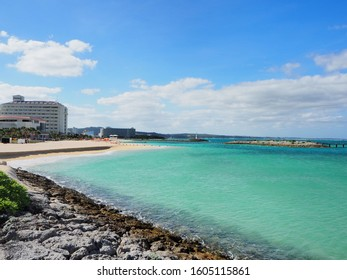 Beautiful okinawa beach in sunny weather