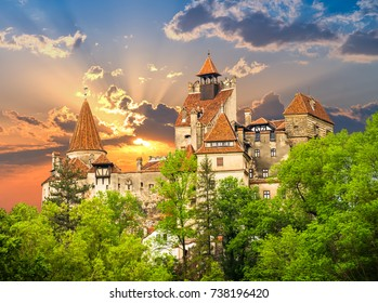 Beautiful and old architecture of the famous Dracula castle in Bran town. Medieval and ancient building of Transylvania in Europe, Romania