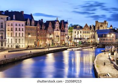 Beautiful old buildings on Korenlei embankment in Ghent, Belgium