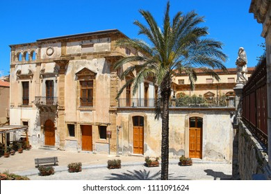 Beautiful old buildings on Piazza Duomo (Cathedral square), Cefalu, Sicily, Italy