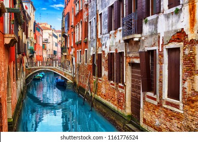 Beautiful old canal in Venice, Italy. Colorful architecture