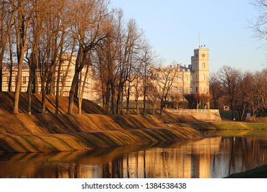 Beautiful old castle of Paul in Gatchina in the spring lit at sunset