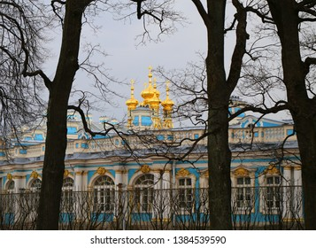 Beautiful old Catherine Palace in Russia spring park