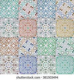 Beautiful old ceramic tiles patterns in the park public.