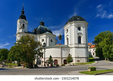 Beautiful old church in Krtiny. Czech Republic. (Names of the Virgin Mary)
