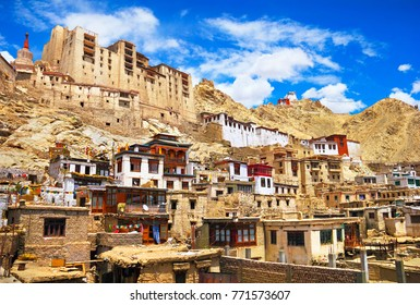Beautiful old city scape: former Royal Palace, Buddhist monastery - Namgyal Tsemo Gompa, lot of old traditional tibetan houses in Leh - the capital of Ladakh, Himalaya, Jammu & Kashmir, Northern India