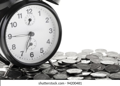 Beautiful old clock staying on one polish zloty coins. Time is money concept isolated on white background.