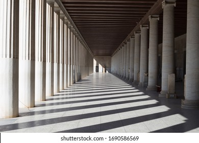 Beautiful old Colonnade of the Ancient Agora of Athens in Greece - Shutterstock ID 1690586569