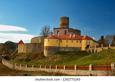 Beautiful old Czech castle Svojanov. Czech Republic Europe. Old architecture in landscape with blue sky and sun in the afternoon.