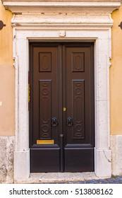 Beautiful old door in Lisbon near Castle of St George