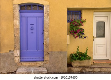Beautiful old door on a house in a village in Provence, France