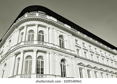 beautiful old facade at a historic building. black and white