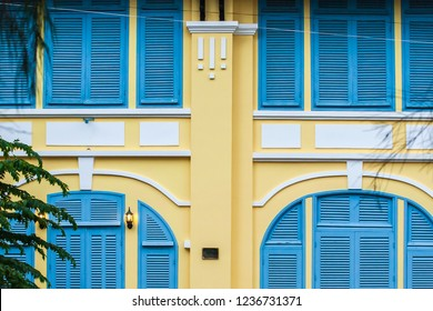 Beautiful old french colonial building. Kampot Province, South Cambodia, ancient colonial architecture. Soft sunlight. Public place.