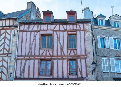 Beautiful old half-timbered houses in Vannes, magnificent town in Brittany